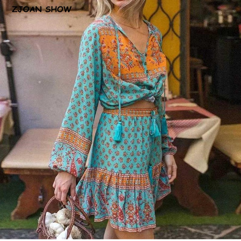 2020 Bohemian Lacing Up Tassel Floral Shirt Sexy Women Elastic Waist Mini Short Skirt Long Sleeve Blouse Holiday 2 Pieces Set