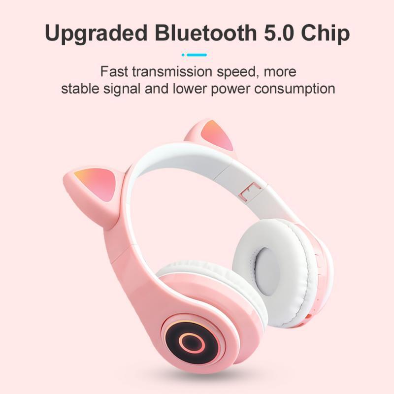 B39 Беспроводная Bluetooth-гарнитура с кошачьими ушками, наушники-вкладыши со светодиодный светильник кой и регулятором громкости для девушек, н...