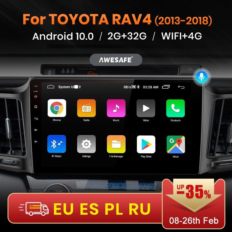 Автомагнитола AWESAFE PX9 для Toyota, мультимедийный видеоплеер на Android 2013, 2 Гб ОЗУ, 32 Гб ПЗУ, с GPS, для Toyota RAV4, 4, 2016-2017, 2018, 2019, 10,0, типоразмер 2 din