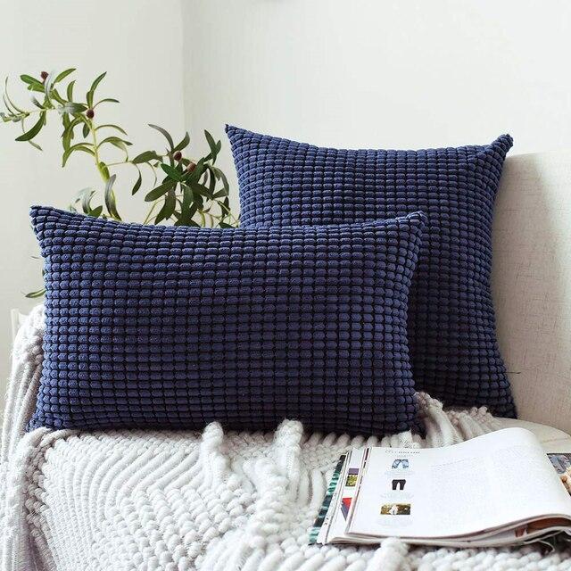 Sky Blue Waffle Cord Cushion Cover 4