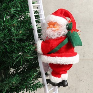 Lovely Christmas Santa Claus Electric Climb Ladder Hanging Decoration Christmas Tree Ornaments Funny New Year Kids Gifts Party