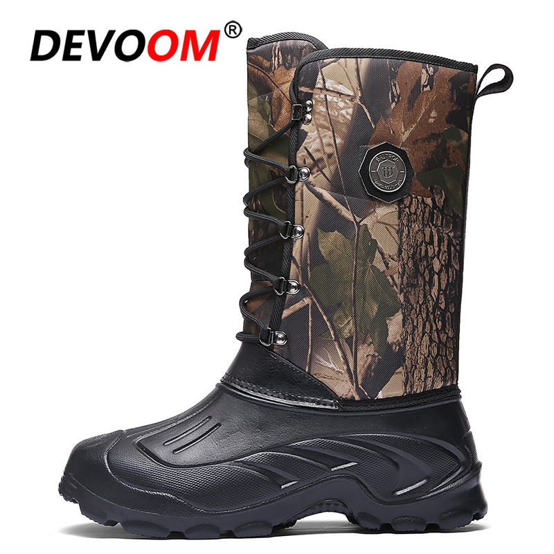 2019 Camouflage Waterproof Snow Boots Men Winter Boots Cowboy Boots With Fur Plush Warm Male Casual Mid-Calf Work Fishing Boot
