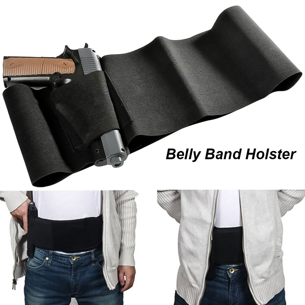 "Tactical Belly Band Holster For Gun 37""/31"" Concealed Gun Pistol Carry Pouch Waist Bag Invisible Elastic Hunting Girdle Belt"