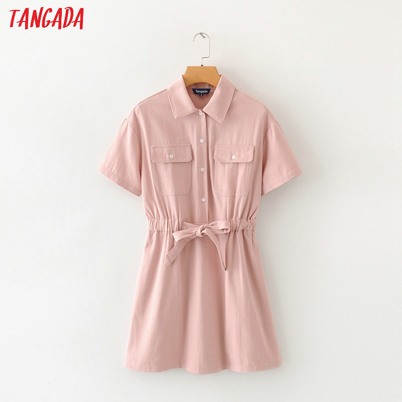 Tangada Women Elegant Pink Denim Dress With Slash Short Sleeve 2020 Fashion Female High Street Dresses Vestido 2M01