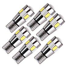 Luz de led super brilhante para interior de carro, luz de led blub canblus 12v 6x t10 w5w, lâmpadas sinalizadoras de seta para placa erro livre 194 5w5
