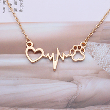 New Electrocardiogram Heart Dog Paw Necklace For Pets Lovers Classic Cat Claw Long Chain Pendant Necklaces Female Jewelry Gifts classic heart pendant