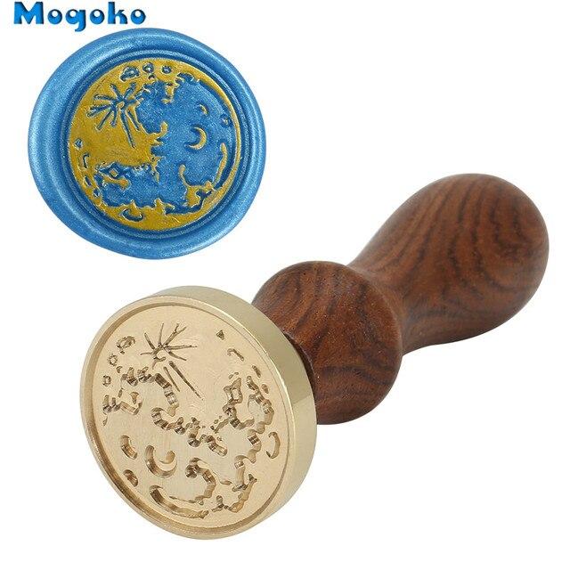 Mogoko-sceau de cire en bois 25mm/30mm   Cire à sceller classique rétro, sceau enveloppe, bouteilles, décor Antique, carte de la terre des timbres