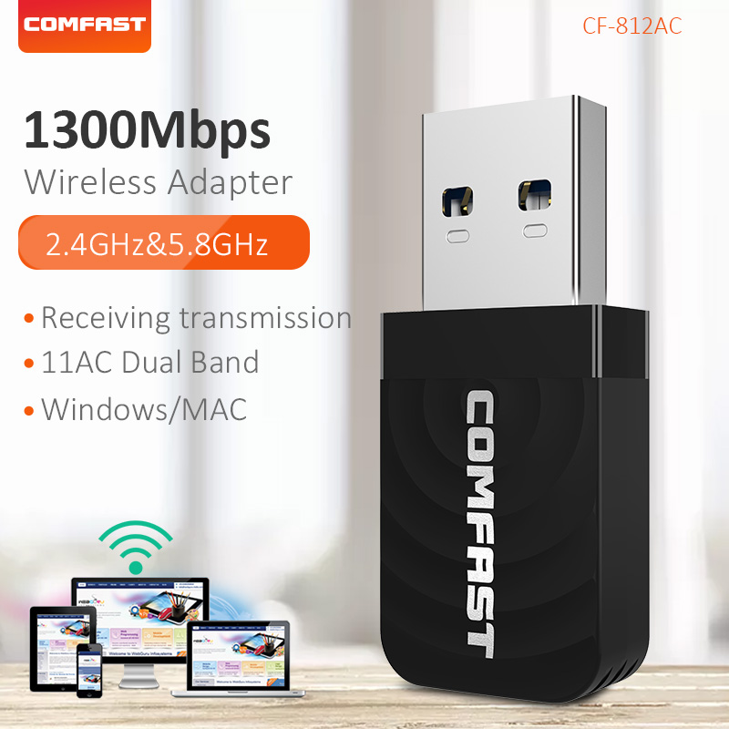 Comfast Dual Band 2.4G&5.8G Wifi Ethernet USB 3.0 Mini Network Card 1300Mbps Wifi Extender USB Wifi Adapter Antenna CF-812AC