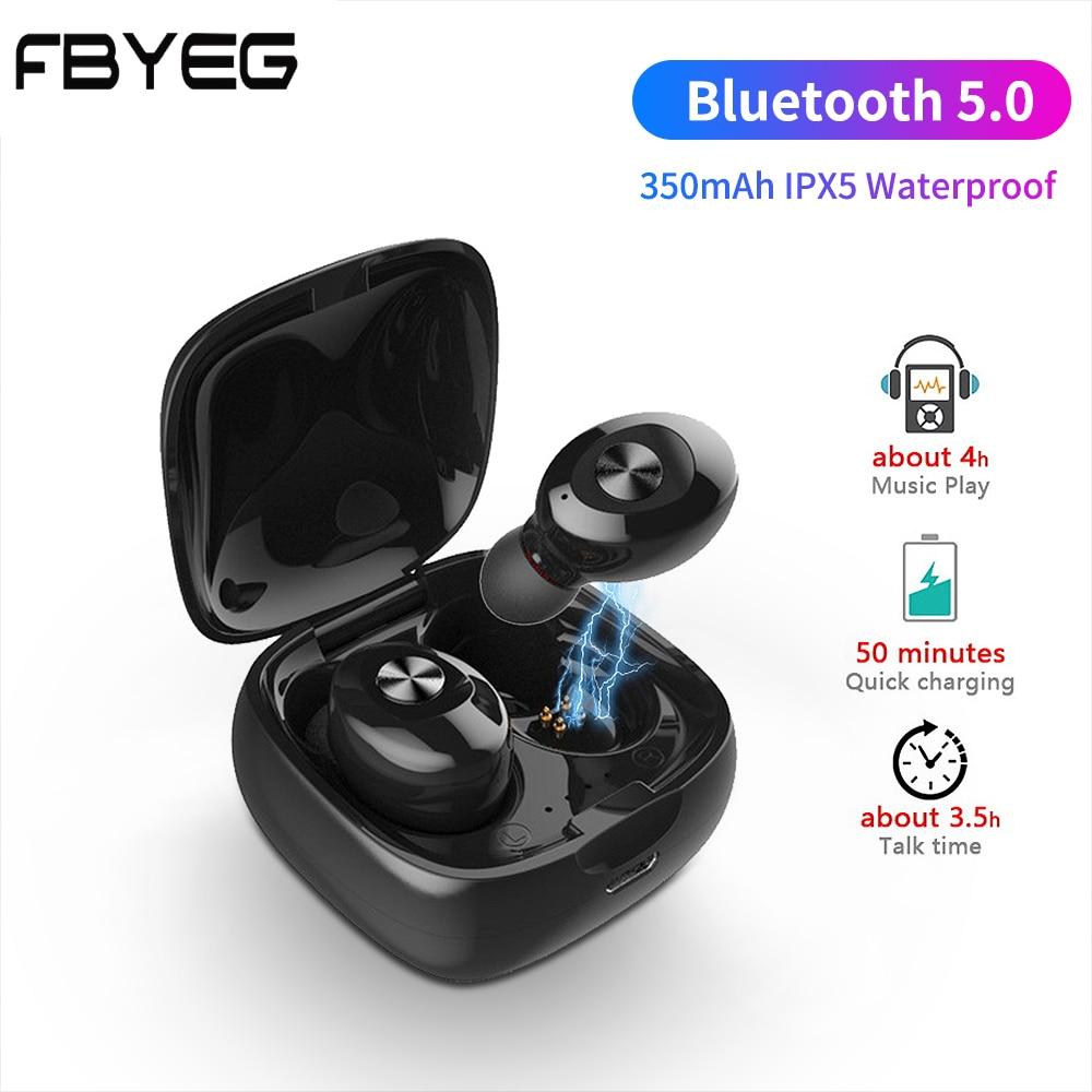FBYEG TWS True HIFI Wireless Stereo Earphones Bluetooth 5.0 Headset Sport Earbuds Handsfree With Mic For Phone