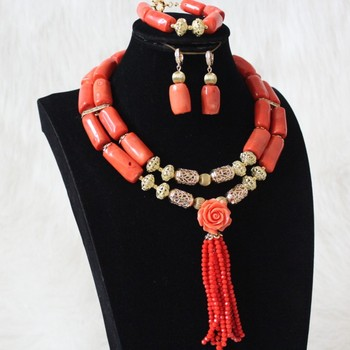 4UJewelry Nigerian Wedding Beads 2 Layers 13 mm Coral Beads With Gold Divider Tassel Dubai jewellery Set African Design 2020 New