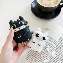 for AirPods 1 Silicone Bluetooth Earphone Case for Airpods 2 Cute Cartoon Protective Cover Stereoscopic Dragon Night Fury Ring(China)