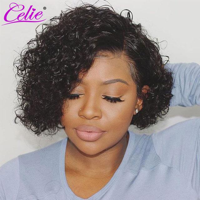 Celie hair Pixie Cut Wig For Black Women Human Hair Wigs Bob Lace Front Wigs 4x4 Closure Wig Bob Wig Lace Front Human Hair Wig