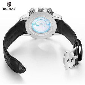 Image 5 - RUIMAS Automatische Militär Uhren Wasserdicht Sport Armbanduhr Lederband Mechanische Uhr Mann Relogios Masculino Uhr 6767