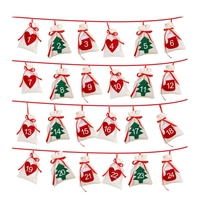 Хлопковый Рождественский Адвент-календарь гирлянда, набор из 24 штук, 11x16 см висит Рождественский календарь подарочные пакеты Новый год 2019 С...