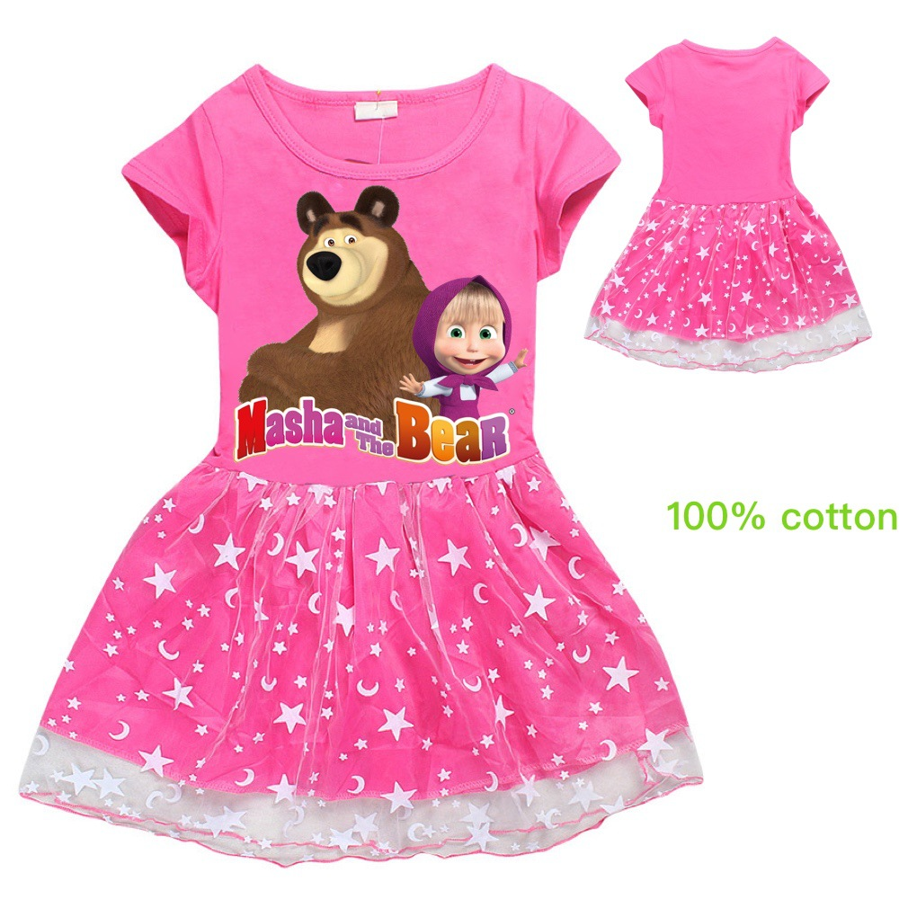 Kids Cartoon Dress Baby Girls Printed Lace Dresses Baby Girl MASHA BEAR Princess Dress Paty Costume Summer Short-sleeved Dress