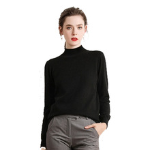 Women Autumn Winter Casual New Half Turtle-Neck Sweater Womens Short Style Solid Loose Sets of Long-sleeved Knitting