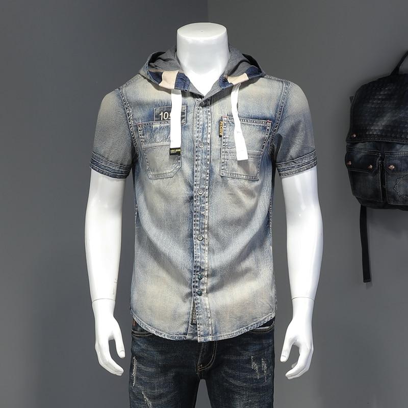 High Quality Denim Shirt Men's Hooded Shirt Short Sleeve Streetwear Social Blouse Casual Slim Night Club Party Camisa Masculina