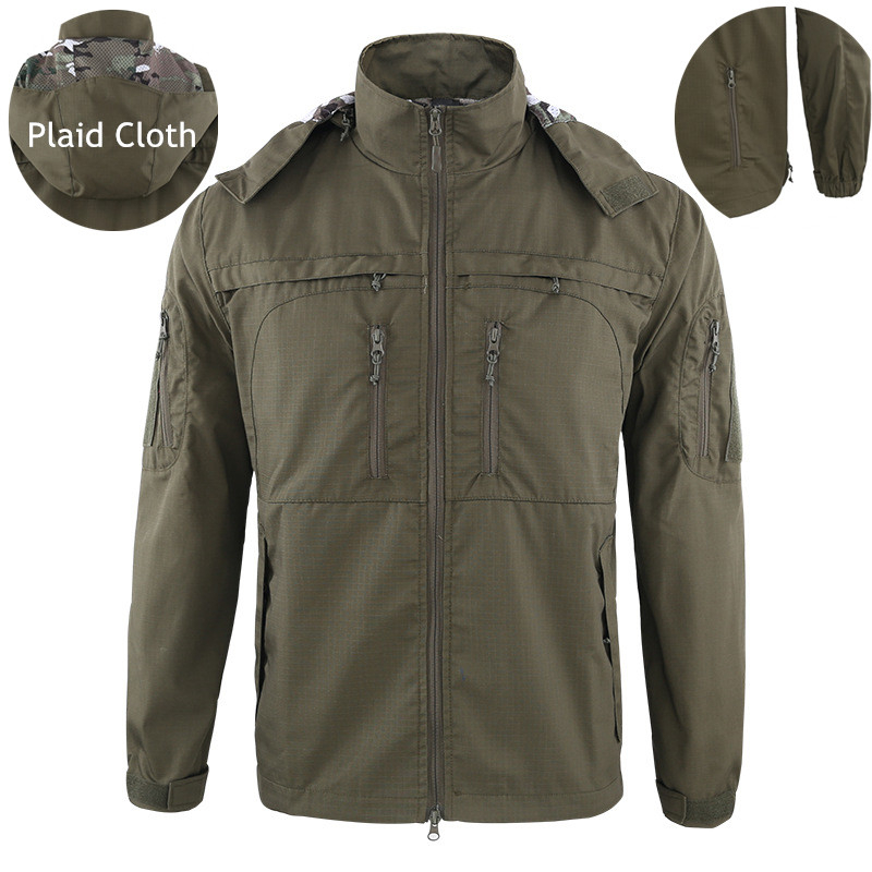 Camouflage Tactical Windbreaker Male Outdoor Hiking Windproof Warm Hooded Coat Tactical Jacket Man Military Clothes Outerwear