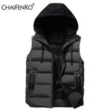 CHAIFENKO Men's Vest Jacket Winter Waterproof Warm Sleeveless Men Jacket Fashion Hooded Casual Vest Men Autumn Thicken Waistcoat