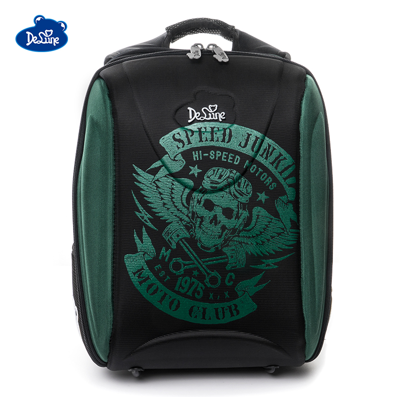 Delune Brand 3D Orthopedic School Bags For Girls Grade 1-5 Children Boys Four-wheel Drive Cars Print Backpacks Mochila Infantil