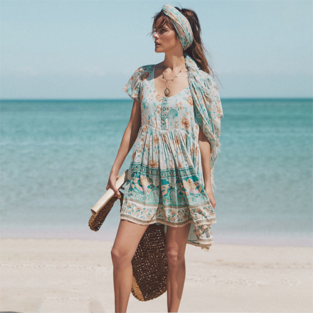 Hippie <font><b>Floral</b></font> <font><b>Printed</b></font> Mini <font><b>Dress</b></font> <font><b>V</b></font> Neck <font><b>Sexy</b></font> <font><b>Short</b></font> Sleeve Vintage Vestidos Summer 2020 <font><b>Beach</b></font> Casual Clothes <font><b>Boho</b></font> Women <font><b>Dresses</b></font> image