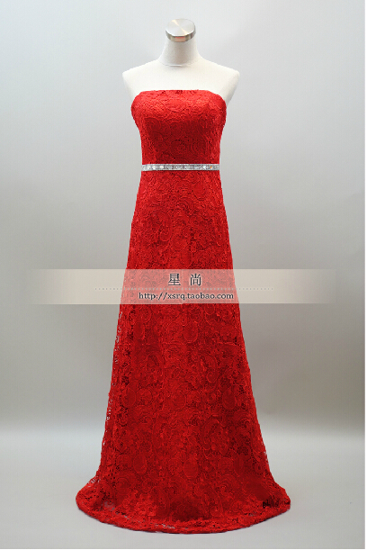 Free Shipping Party Gown Summer Dress 2016 New Hot Sexy Fashion Crystal Long Vestidos De Festa Prom Red Lace Evening Dresses