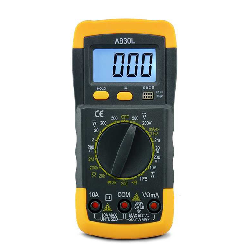 A830L Multimeter LCD Digital Multimeter AC DC Voltage Diode Freguency Multitester Current Tester Luminous Display With Buzzer