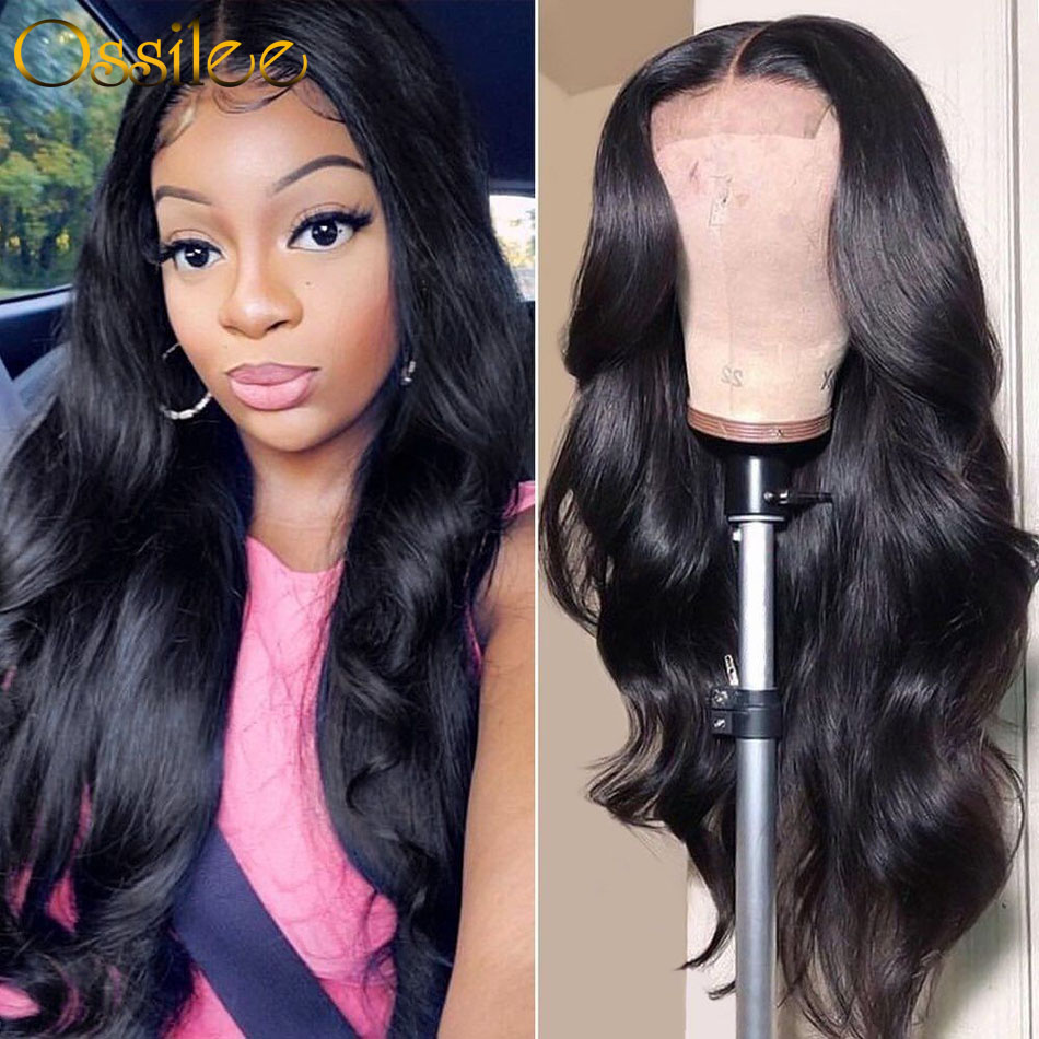 Lace Closure Human Hair Wigs Body Wave Peruvian Hair 4x4 Lace Frontal Wigs Pre Plucked Ossilee Remy Hair 150% Density