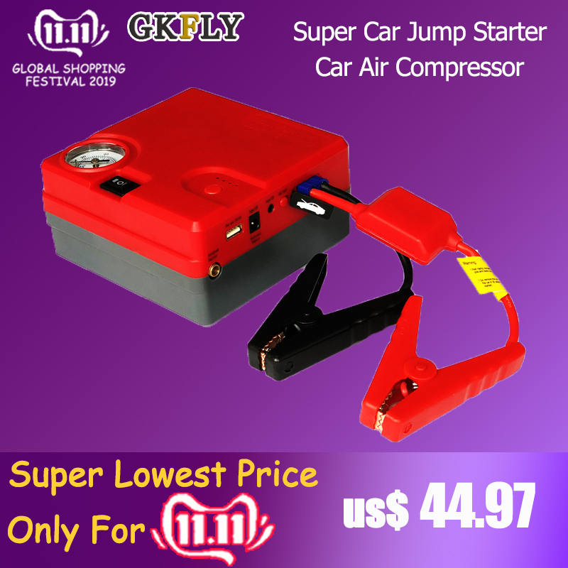 GKFLY 12V Car Jump Starter Power Bank Car Air Compressor 16800mAh Starting Device Booster Car Starter For Car Battery Buster