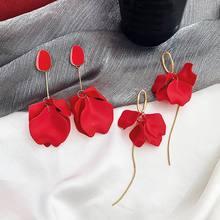 Women Red Earrings 2019 New Statement Flower Petal Pendientes Long Design