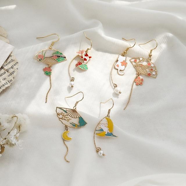 Korean Style Flower Cute Animal Dangle Earrings For Women Moon Stars Kitten Rabbit Balloon Asymmetric Earring Party Jewelry Gift 5