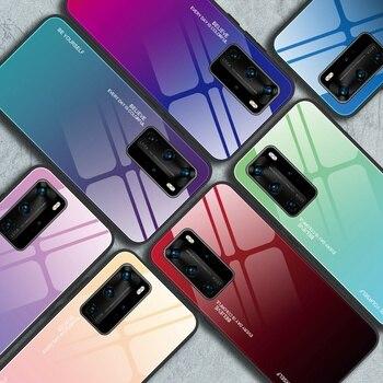 Funda de teléfono de cristal de lujo para Huawei P9 P10 Plus P20 P30 P40 Lite E P40 Pro Plus P8 Lite 2017 Y5P Y6P Y7P Y8P