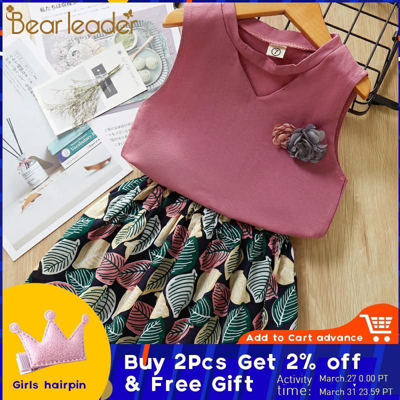 Urso líder meninas conjuntos de roupas 2020 verão colorido topo o-pescoço t-shirts + calças 2 pçs para meninas meninos ternos crianças roupas