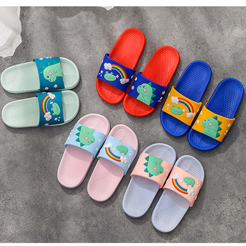Kids Slippers For Boys Girls Cartoon Dinosaurs Pattern Shoes Summer Toddler Flip Flops Baby Indoor Slippers Beach Swim Slippers