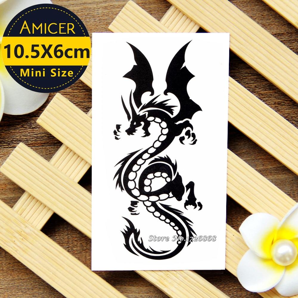 Waterproof Temporary Tattoo Sticker 10.5*6 cm Dragon Tattoo Water Transfer Fake Tattoo Flash Tattoos For Men Women #422 2