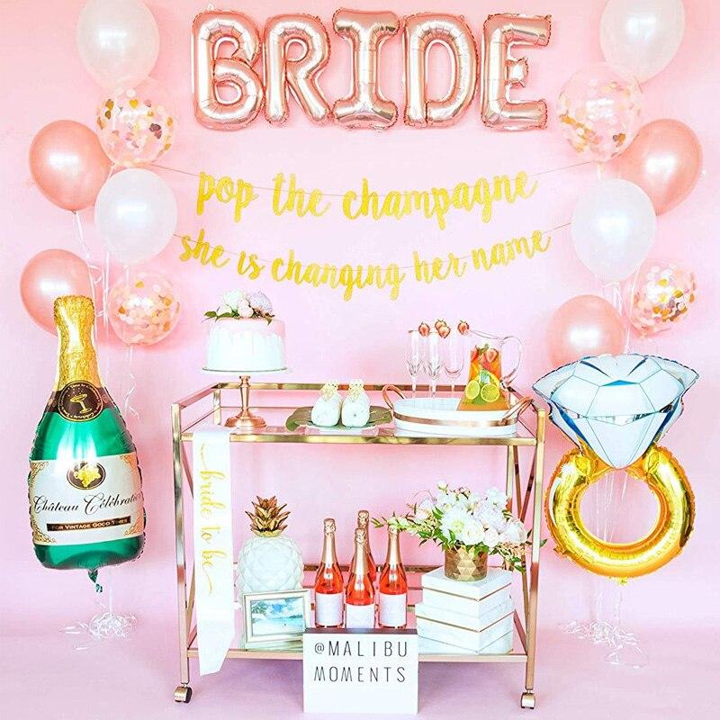 1 Set Bachelor Party Decoration  Rose Gold Confetti Balloon For Bride Glitter Banner Foil Letter Ring Champagne Ballon Wedding