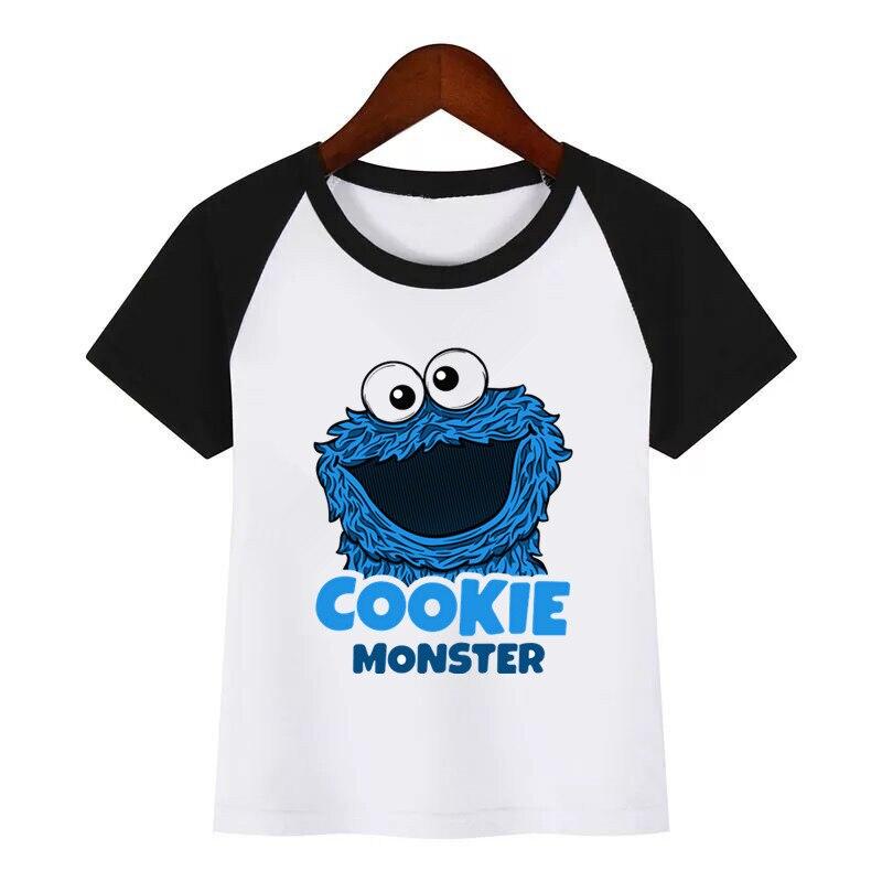Sesame Street Cookie Monsters Funny Clothes Children Summer T-shirt Kids Fashion Clothing T Shirt Children Cartoon T-shirt