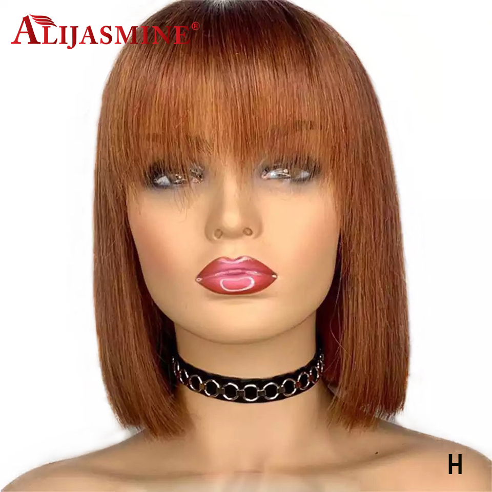 Wig With Bangs Brazilian Remy Honey Blonde Short Bob Lace Front Human Hair Wigs With Front Bang For Women 150 Density 13x4