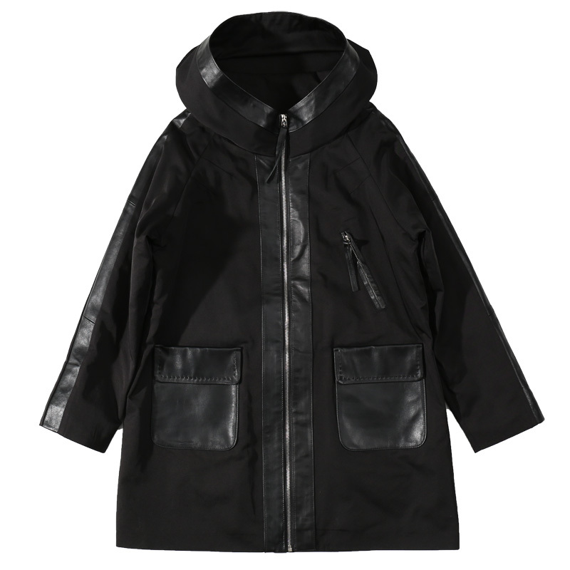 Leather Female Sheep Skin Joining Together Long Hooded Korean High Quality Edition Trench Genuine Leather Jacket.