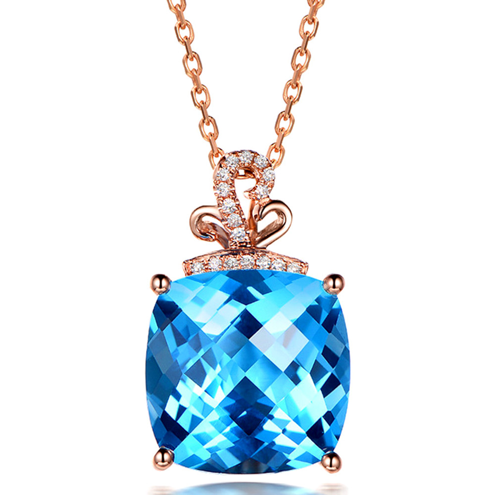 Rose Gold Color Choker Chain Square Aquamarine Gemstones Blue Crystal Pendant Necklace For Women Diamonds Jewelry Bijoux Fashion