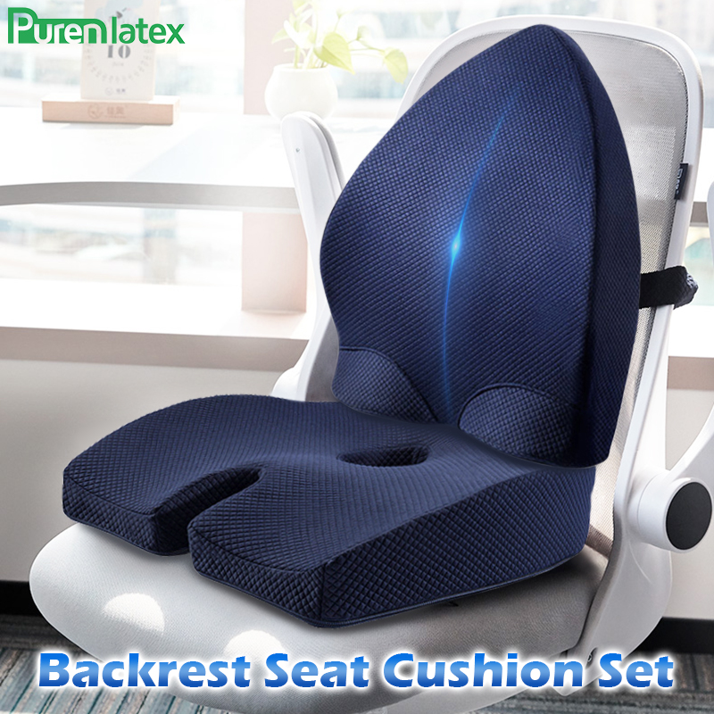 Soft and Warm Bottom Chair Cushion and Back Lumbar Support Set Non-Slip Coccyx Sitting Pads Adjustable Low Back Pain Relief Lumbar Relax Pillow