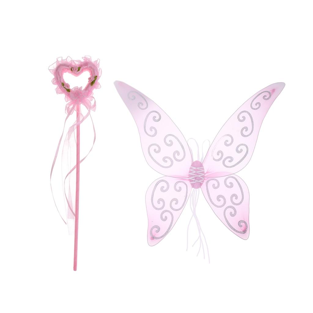 Lovely Kids Girls Fairy Butterfly Wings Wand Fancy Dress Dance Party Costume