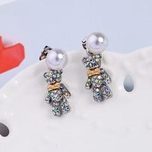 2019 Colorful Crystal Cute Little Bear Earrings For Women Pearl Ear Stud Fashion Jewelry