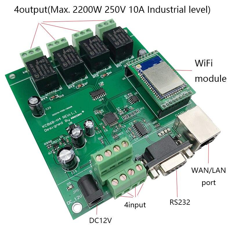 Kincony 4CH WiFi Smart Home Automation módulo controlador Domotica Hogar Inteligente sistema de interruptor de Control remoto 250V10A