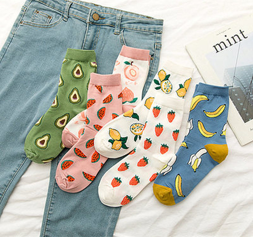 New Summer Cartoon Fruit Cotton Lemon Peach Banana Avocado Women Korean Version Of Socks Fashion Street Socks