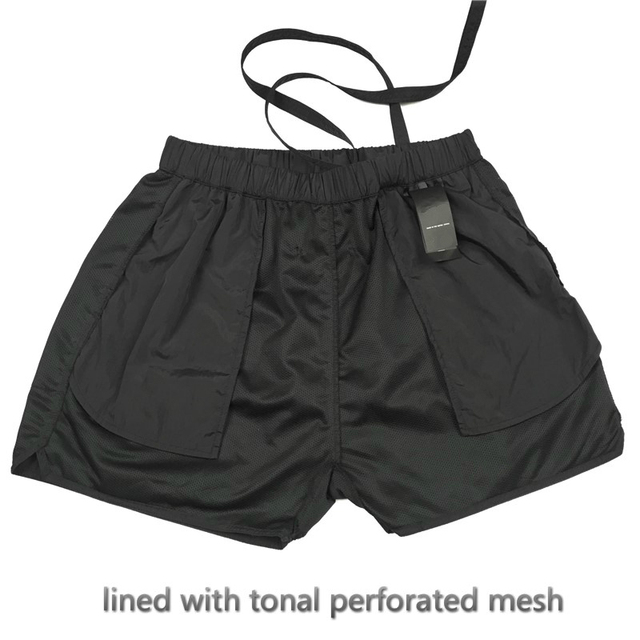 Best Version Blue Iridescent Belted Track Shorts Nylon Sweat Shorts Lined With Faux-suede 3
