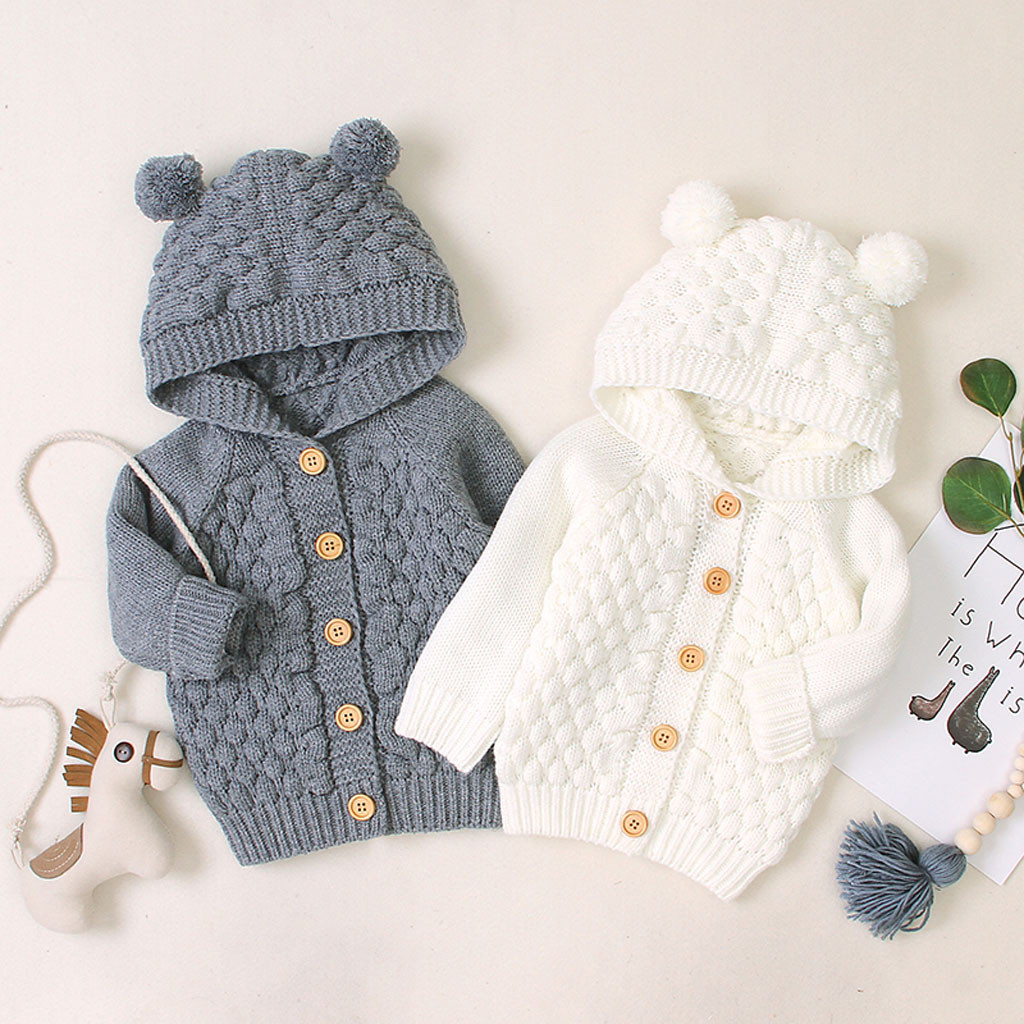 Jacket Outerwear Coat Hooded Newborn Baby-Girl Infant Winter Boy Long Sweater-Sizes Knit title=