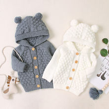 Newborn Infant Baby Girl Boy Winter Jacket Warm Coat Knit Outwear Hooded Sweater sizes 2t Long Children Outerwear #Aug(China)