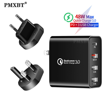 48W Multi USB Charger Quick Charge 3.0 QC3.0 PD Type C Fast Charging For iPhone Xiaomi Samsung Mobile Phone Adapter Wall Charger