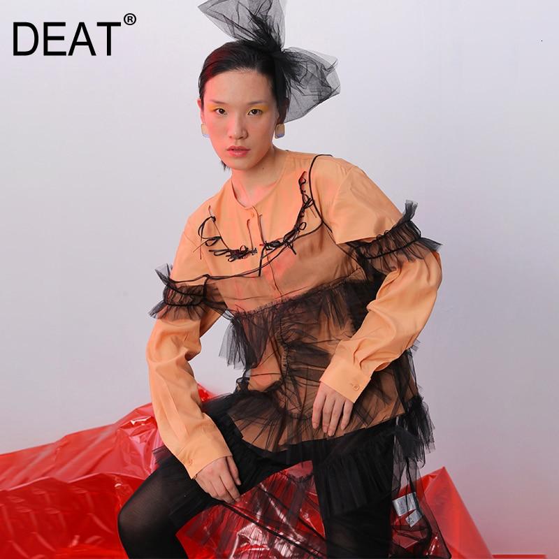 [DEAT] 2019 femmes automne mode tendance nouveau motif Orange ajouré arc en trois dimensions poupée pliante grande balançoire chemise AI505